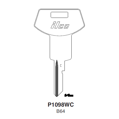 Ilco P1098WC, B64-P (B64) Key Blank : General Motors