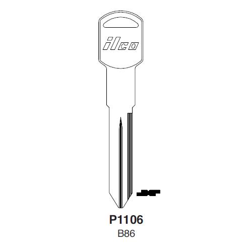 Ilco P1106, B86-P (B86) Key Blank : General Motors
