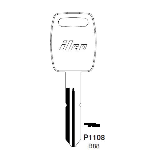 Ilco P1108, B88-P (B88) Key Blank : Saturn