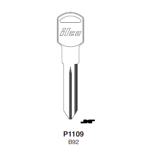 Ilco P1109, B92-P (B92) Key Blank : General Motors