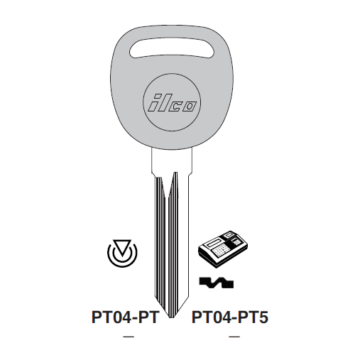 Ilco PT04-PT5 Transponder Clonable Key Blank; General Motors, Saab, Saturn