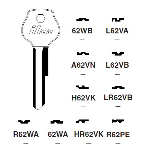 Ilco HR62VK Key Blank : DKW, VW