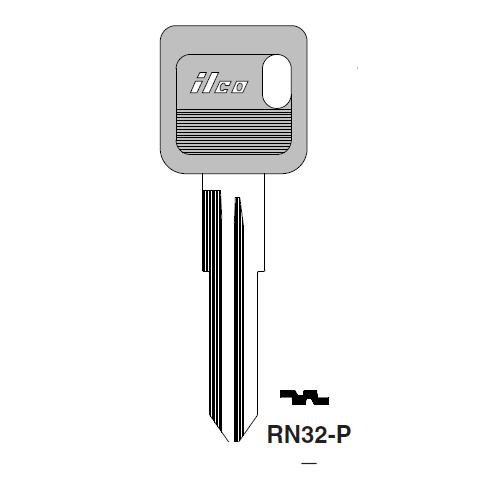 Ilco  RN32-P American Motors, Jeep, Renualt Plastic Head Key Blank; ( RN32,  X175 )
