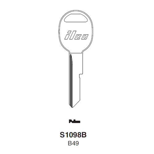 Taylor by Ilco B49 (S1098B, B49-P) Key Blank : General Motors