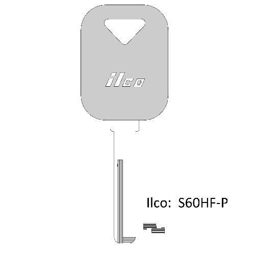 Ilco  S60HF-P Volvo Plastic Head Key Blank
