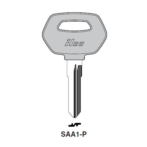 Ilco  SAA1-P Saab Plastic Head Key Blank; ( SAA1,  X52 )