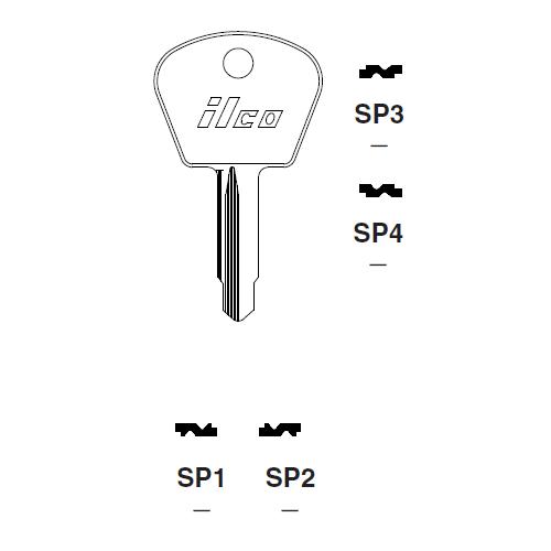 Ilco SP3 Key Blank : Fiat, Magneti-Marelli