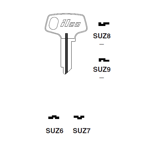 Ilco SUZ8 Key Blank : Suzuki Motorcycles