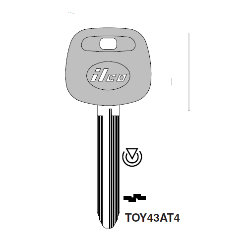 Ilco TOY43AT4 Transponder Key Blank; Toyota