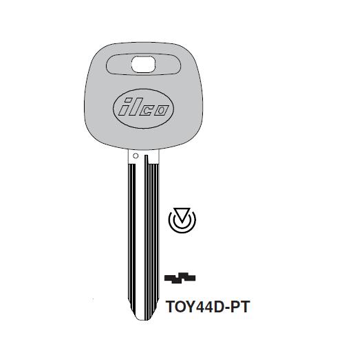 Ilco TOY44D-PT Transponder Key Blank; Toyota
