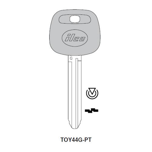 Ilco TOY44G-PT Transponder Key Blank; Toyota