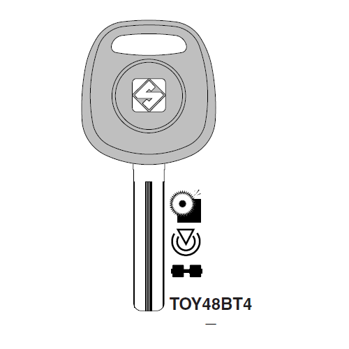 Ilco TOY48BT4 Transponder Key Blank; Lexus