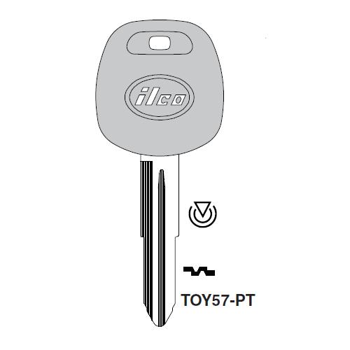 Ilco TOY57-PT Transponder Key Blank; Toyota
