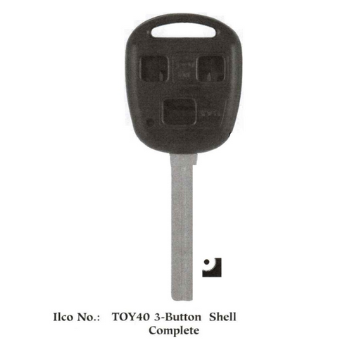 Ilco TOY-3B Chipless Key Blank; Toyota - 3-BUTTON REMOTE HEAD COMPLETE - TR47 BLADE