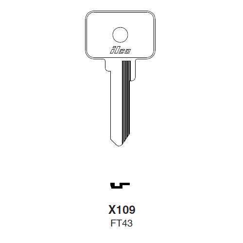 Ilco X109 (FT43) Key Blank : Alfa Romeo, Fiat, Lamborghini