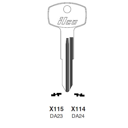 Ilco X115, DA23-P (DA23) Key Blank : Nissan, Subaru