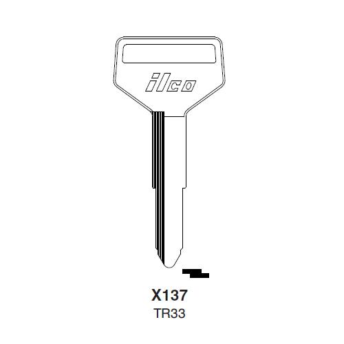 Ilco X137 (TR33) Key Blank : Hino, Toyota