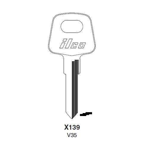 Ilco X139, V35-P (V35) Key Blank : Audi