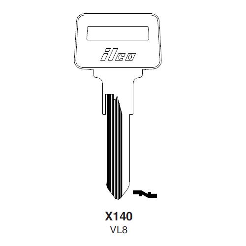 Ilco X140 (VL8) Key Blank : Volvo