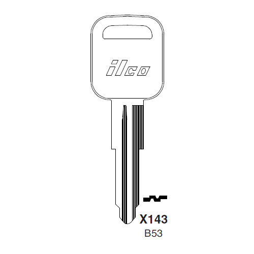Ilco X143 (B53) Key Blank : Geo, General Motors, Isizu