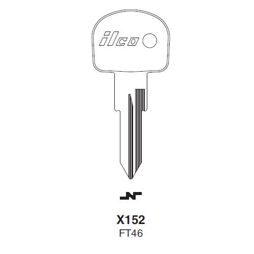 Ilco X152 (FT46) Key Blank : Alfa Romeo, Ferrari, Fiat, Lamborghini, Yugo