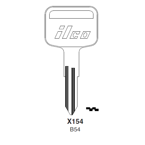 Ilco X154 (B54) Key Blank : General Motors, Isuzu