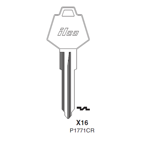 Ilco X16 (P1771CR) Key Blank : Chrysler, Rootes Group, Sunbeam