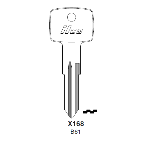 Ilco X168 (B61) Key Blank : General Motors, Opel