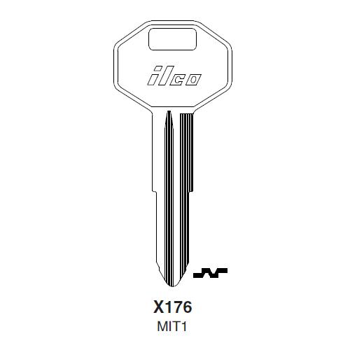 Ilco X176 (MIT1) Key Blank : Chrysler, Mitsubishi