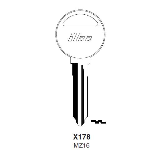 Ilco X178, MZ16-P (MZ16) Key Blank : Mazda