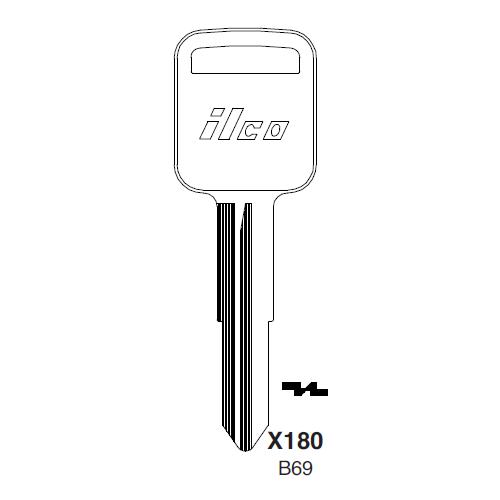 Ilco X180 (B69) Key Blank : Geo, General Motors