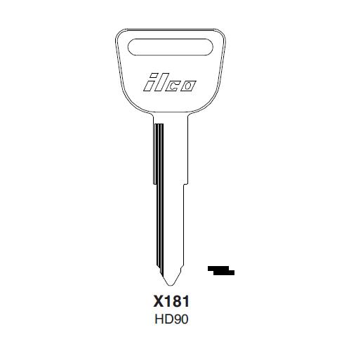 Ilco X181, HD90-P (HD90) Key Blank : Honda Automobiles