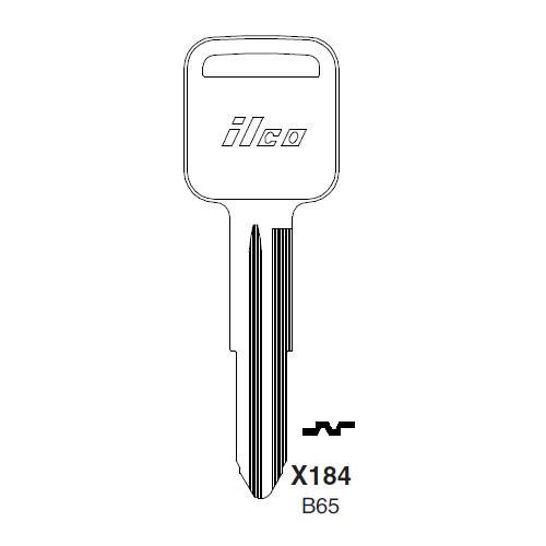 Ilco X184, B65-P (B65) Key Blank : Geo, Honda, Isuzu