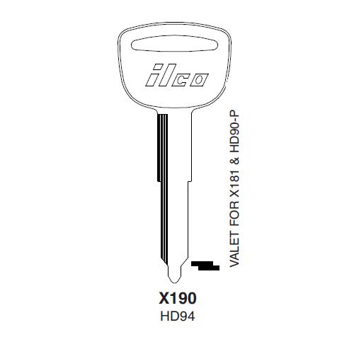 Ilco X190 (HD94) Key Blank : Honda Automobiles