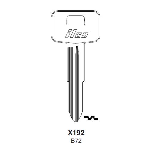 Ilco X192, B72-P (B72) Key Blank : Geo