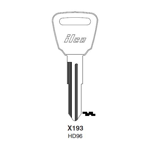 Ilco X193, HD96-P (HD96) Key Blank : Acura