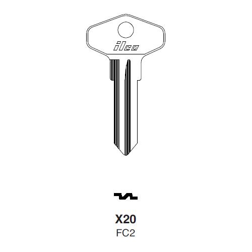 Ilco X20 (FC2) Key Blank : British Leyland, Ford International
