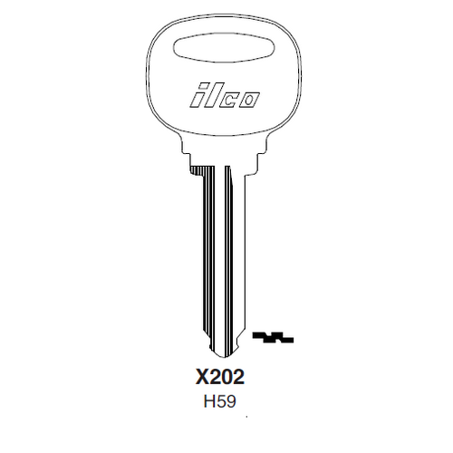 Ilco X202, H59-P (H59) Key Blank : Ford
