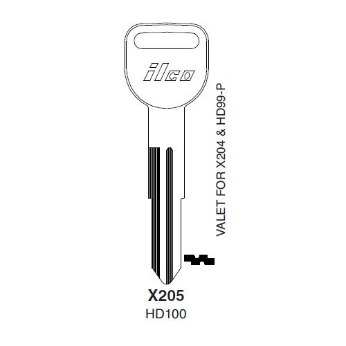 Ilco X205, HD100-P (HD100) Key Blank : Acura