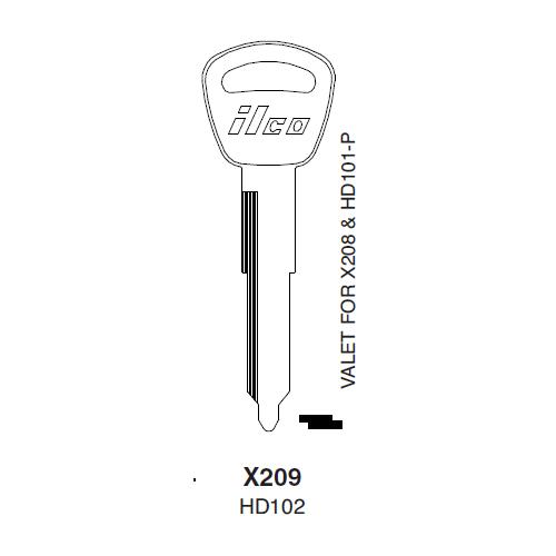 Ilco X209, HD102-P (HD102) Key Blank : Acura