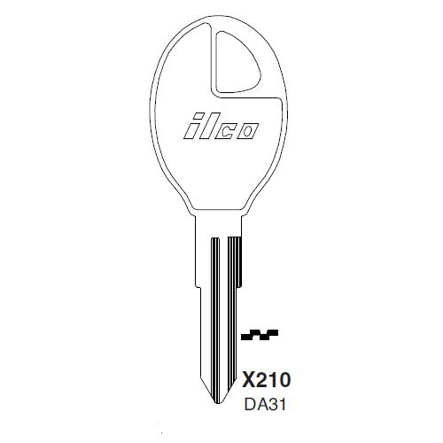 Ilco X210, DA31-P (DA31) Key Blank : Infiniti, Nissan, Subaru