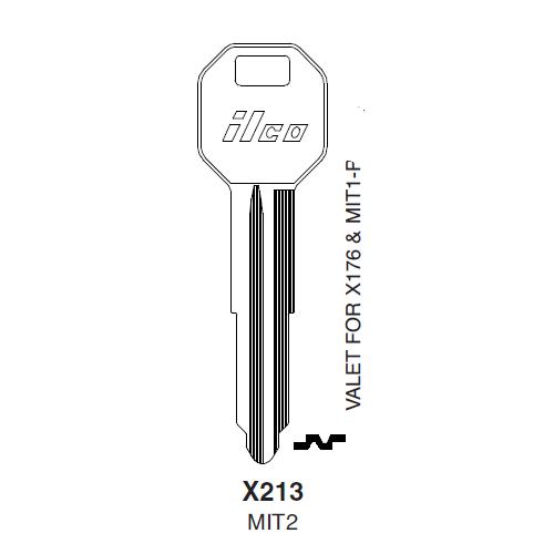 Ilco X213 (MIT2) Key Blank : Chrysler, Mitsubishi