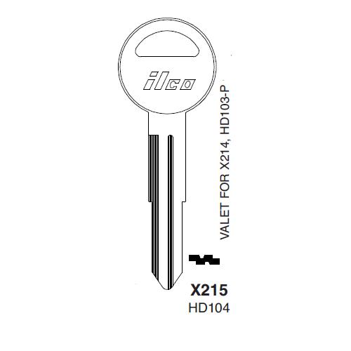 Ilco X215 (HD104) Key Blank : Honda Automobiles