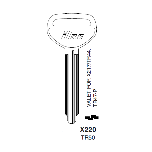 Ilco X220 (TR50) Key Blank : Toyota