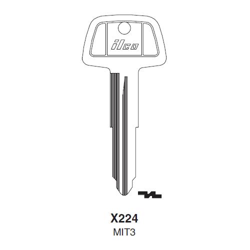 Ilco X224 (MIT3) Key Blank : Chrysler, Mitsubishi