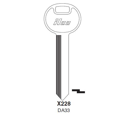 Ilco X228 (DA33) Key Blank : Nissan
