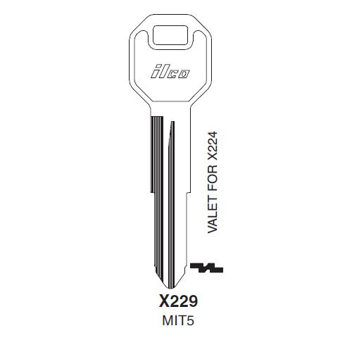 Ilco X229 (MIT5) Key Blank : Chrysler, Mitsubishi