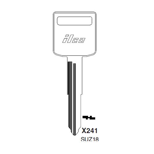 Ilco X241, SUZ18-P (SUZ18) Key Blank : Suzuki Automobiles, Motorcycles