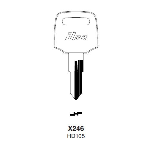 Ilco X246 (HD105) Key Blank : Honda Motorcycles