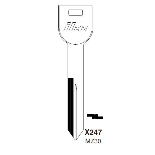 Ilco X247, MZ30-P (MZ30) Key Blank : Mazda